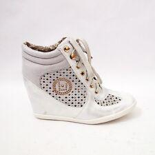 Scarpe Donna Sneakers Borchiette Strass Lacci Zeppa Interna Traforati SY-22008