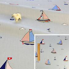 GREY Meter/Fat Quarter/Square Cotton Fabric Quilt Craft Sew Nautical Sailing Sea