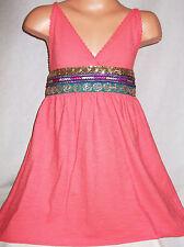 GIRLS CORAL ETHNIC TRIBAL TRIM SHORT LENGTH GRECIAN SUMMER PARTY TUNIC DRESS