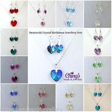 Silver Plated Birthstone Jewellery Set Made with Swarovski Crystal Hearts