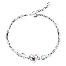 925 Sterling Silver Angel Wing Heart Charm Chain Linked Bracelet Women Jewellery