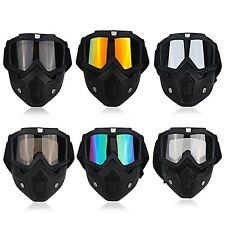 Ski Motorcycle Mask Half Goggles Vintage Helmets Open Face Universal Glasses Bla