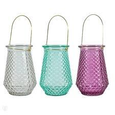Laterne Struktur-Glas mit Bügel 18 cm / Windlicht, Dekoration, Deko, Garten