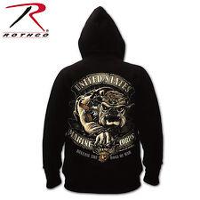 Rothco 80333 Black Ink U.S.M.C. Bulldog Hooded Pullover Sweatshirt