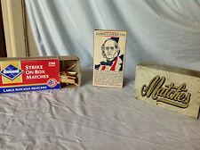 2 Vintage Safety Match Boxes + 1 Metal Match Box Holder