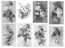 Meubles Décalque Transfert de l'Image Vintage Shabby Chic Roses Noires Fleur Artiste Art