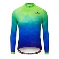 Miloto Men's Reflective Cycling Jersey Long Sleeve Bike Bicycle Shirt Blue-Green