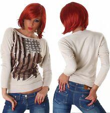 Pullover Sweater Mit Nieten Front Print Sterne Beige Gr. 36 38 Einheitsgröße Neu