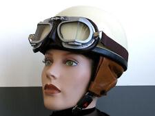 Helm Motorradhelm Helmet Casque Casco Jethelm Cromwell Davida-Style altweiß