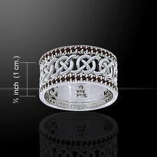 Elegant Garnet Gemstone Celtic Knotwork Ring by Peter Stone