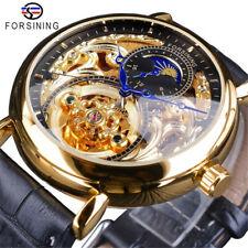 Unique Luxury Moonphase Skeleton Automatic Mechanical Leather Men's Wrist Watch