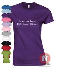Je préfère être à 221b Baker street drôle t-shirt femme ajustée sherlock holmes
