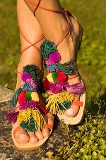 Zara Multicolour Pompom Sandals Size 38,39,40