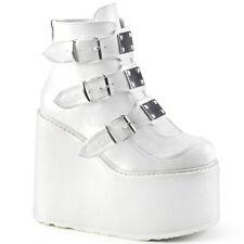 DEMONIA SWI105/WVL Wedge Platform Punk Goth Buckle Strap Women White Ankle Boots