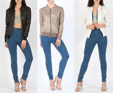 Womens MA1 Metallic Shiny Bomber Biker Jacket Vintage Girls Zip Up Party Jacket
