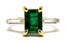 NEW Platinum & 18K Gold Emerald & Diamond Ring 2.53 cts Size 5.5 Retail $12,500