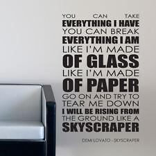 Demi Lovato wall art sticker Skyscraper lyrics decal music quote l7