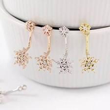 Snowflake Sparkly Rhinestone Crystal Dangle Stud Earrings -Great Christmas Gift