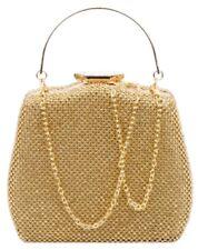 Evening Womens Vintage Top Handle Clutch Bag Diamante Metallic Handle Party