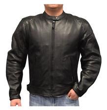 Redline Men's Cowhide Leather European Motorcycle Jacket w/ Armor, Black M-250