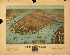 Stampa POSTER Antico città americane città mappa degli stati BROOKLYN NEW YORK