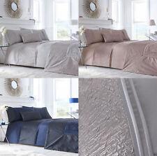 Lavelle Shimmer Crinkle Border Faux Silk Duvet/Quilt Cover Set Bedding Range