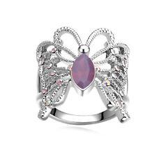 Personality Butterfly purple Gemstone Silver Wedding Jewelry Ring Size 6-10