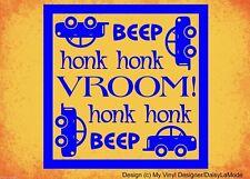 BEEP VROOM HONK car theme vinyl wall art sticker words boy nursery bedroom deco