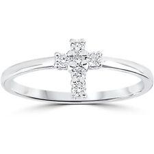 Diamond Cross Ring 1/6 cttw 10k White Gold