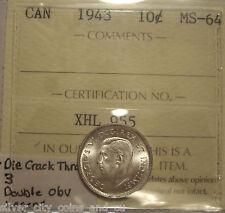 George VI 1943 Die Cr; Double Obv Legend Silver Ten Cents - ICCS MS-64 (XHL 955)