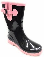 Women Short Moto Style Rubber Rain Boots 2 tone Colors