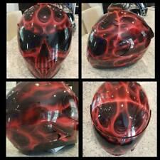 Truefire Skull in Red Custom Painted Airbrushed Motorcycle Helmet