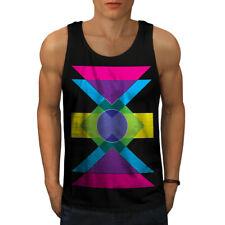 Wellcoda Geometric Pattern Mens Tank Top, Colorful Active Sports Shirt