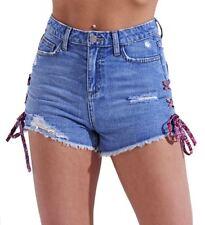 Womens High Waist Distressed Lace Denim Shorts Rips Short Size 8 10 12 14 Blue