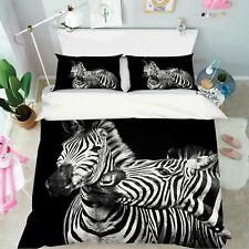 3D Zebras S116 Animal Bed Pillowcases Quilt Duvet Cover Set Queen King Sunday