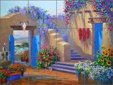 Tile Mural Backsplash Ceramic Senkarik Southwest Floral Courtyard Art MSA172