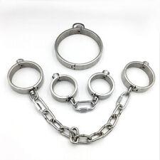 Stainless Steel Lockable Neck Collar Handcuffs Ankle Cuffs Women Men Bondage