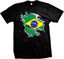 Shredded Rip Through Brazil Flag - Brasil Brazilian Pride  Mens T-shirt
