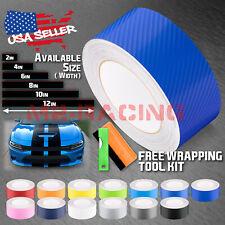 10/25/50 Feet 4D Semi Gloss Carbon Fiber Racing Stripes Vinyl Wrap Rally Sticker