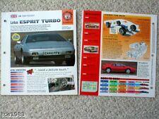 LOTUS Cars Auto BROCHURES / Road Test Collection: ESPRIT, TURBO, ELISE, ELAN, V8