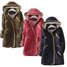 Navy blue Khaki Red padded fleece hood parka coat