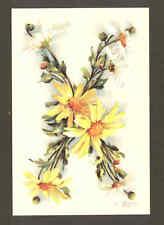 """X"" KLEIN FLOWER ALPHABET,DAISY,REPRODUCTION POSTCARD"