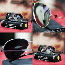 Full Mirror Designer Pilot Retro Aviator Sunglasses Silver Gold Frame Khan New