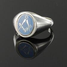 Freimaurer Ring Massiv Silber Punziert Platz und Kompass Wendbar Schwenkkopf