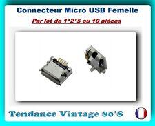 *** LOT DE 1*2*5 OU 10 CONNECTEURS FEMELLES MICRO USB TYPE B A SOUDER (2) ***