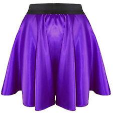 Bluis Purple Women Girl Satin Short Mini Dress Skirt Pleated Retro Elastic Waist