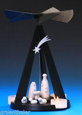 Pyramide Mini Black Delta Christi Geburt Schalling Seiffen Erzgebirge Teelicht