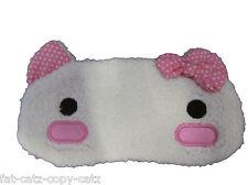 Carino Hello Kitty in finta pelliccia OCCHIO TRAVEL SONNO MASCHERA Copertura Patch 2 disegni uksell