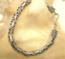 "6.7mm Sterling Silver Oxidized Bali Indonesia Byzantine Bracelet 8.5"""