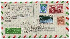 1958 FRANCIA POSTA AEREA ITALIANA ALITALIA VOLO PARIGI-TORINO 1/6 B/4487